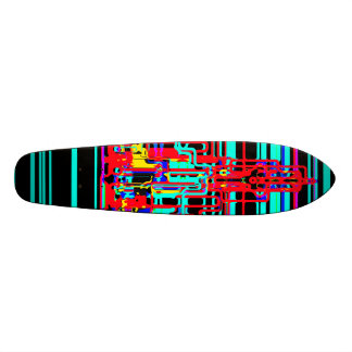 Modern cityscape in blue and red neon 19.7 cm skateboard deck