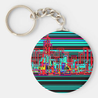 Modern cityscape in blue and red neon basic round button key ring