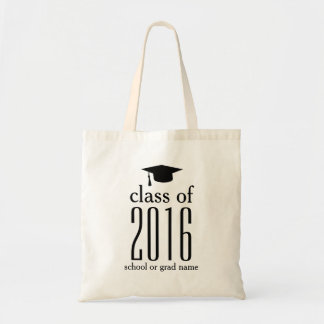 Modern Class of 2016 Graduation Cap Custom Color Budget Tote Bag