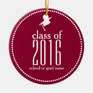 Modern Class of 2016 Graduation Cap Custom Color Round Ceramic Decoration
