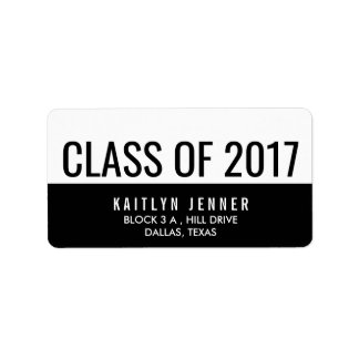 Modern Class Of 2017 Typography Black And White Label