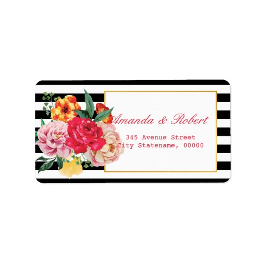 Modern Classic Black Striped Floral Peony address Label