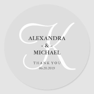 Modern Classic Gray Monogram and Thank You Classic Round Sticker