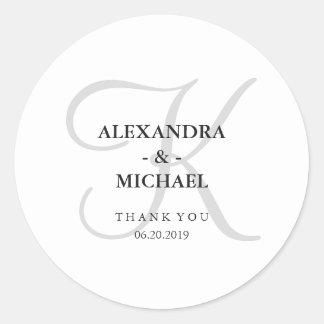 Modern Classic Gray Monogram Wedding Round Sticker