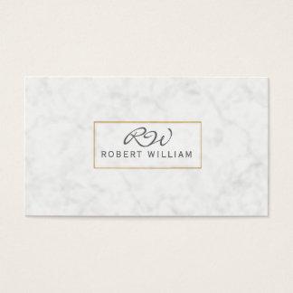 Modern Classic Monogram Golden Frame White Marble Business Card