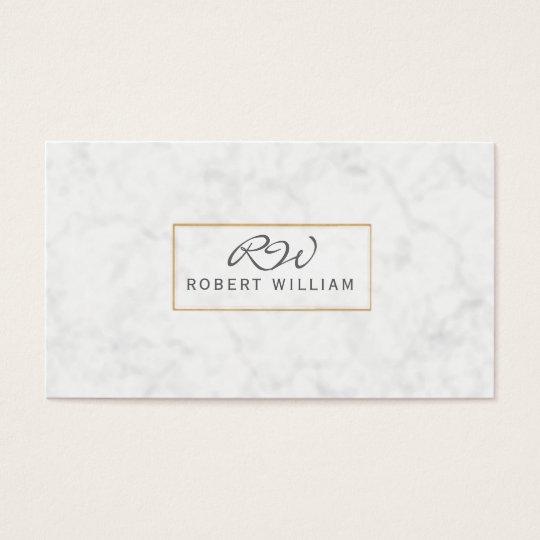Modern Classic Monogram Golden Frame White Marble Business