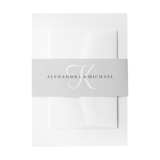 Modern Classic Monogram | Gray Invitation Belly Band
