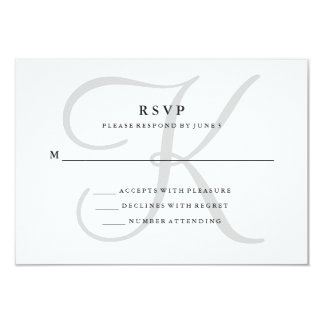 Modern Classic Monogram in Gray RSVP Card