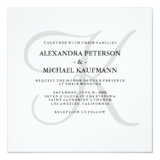 Modern Classic Monogram in Gray Wedding Card