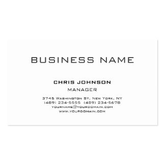 Modern Classical White Manager Business Card