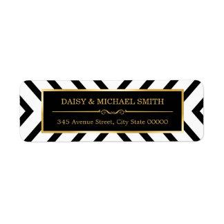 Modern Classy Gold Black White Line Pattern Return Address Label
