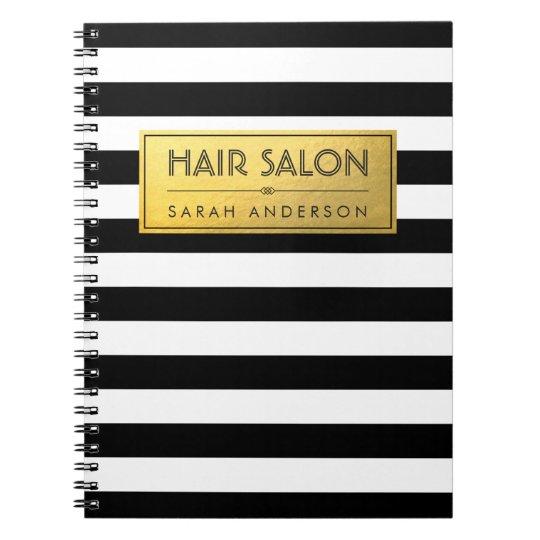 Modern Classy Gold Label and Black White Stripes