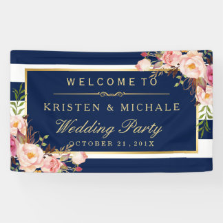 Modern Classy Navy Blue Floral Wedding Party