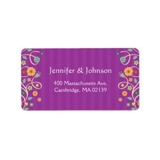 Modern Classy Purple Nature Swirl Floral Address Label