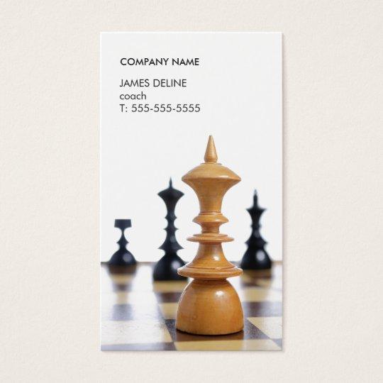 Modern Clean Chess Pieces Coach Business Card