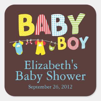Modern Clothesline Baby Boy Baby Shower Sticker