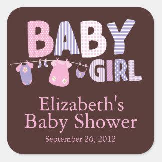 Modern Clothesline Baby Girl Baby Shower Sticker