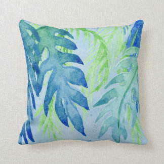 Modern Coastal Tropical Colorful Leaves Ocean Blue Throw Pillow
