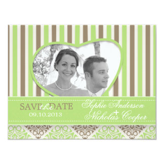 Modern coco mint damask save the date card photo 11 cm x 14 cm invitation card