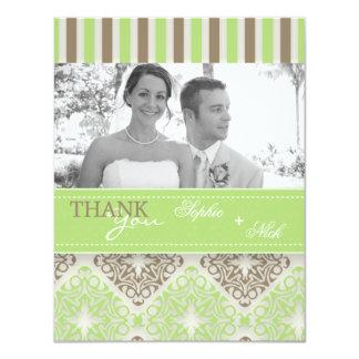 Modern coco mint damask wedding thank you photo 11 cm x 14 cm invitation card