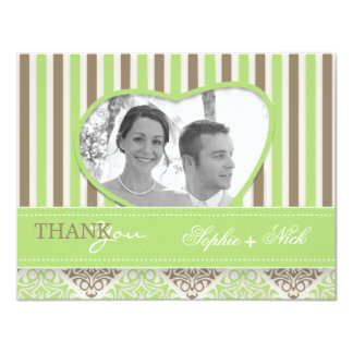 Modern coco mint damask wedding thank you photo 4.25x5.5 paper invitation card