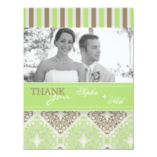 Modern coco mint damask wedding thank you photo invitations