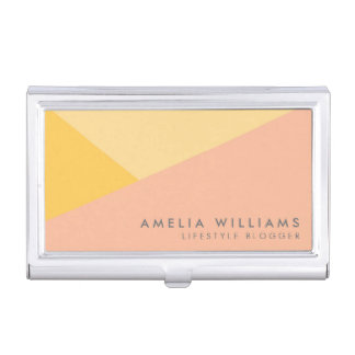 Modern Color Block Pastel Orange and Peach Business Card Holder