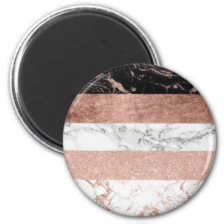 Modern color block rose gold marble stripe pattern 6 cm round magnet