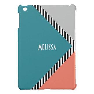 Modern color block triangle & stripes case for the iPad mini