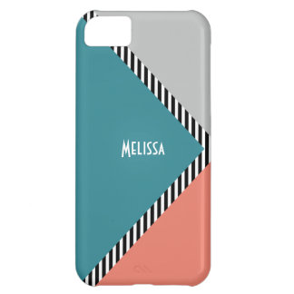 Modern color block triangle & stripes iPhone 5C case