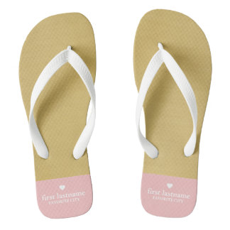 Modern Color Block with Upscale Heart Monogram Flip Flops