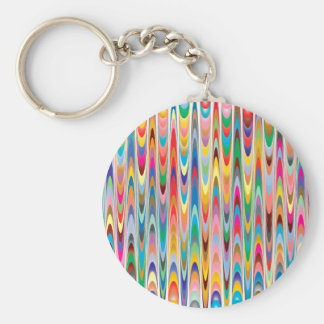 Modern Colorful Abstract Pattern Basic Round Button Key Ring