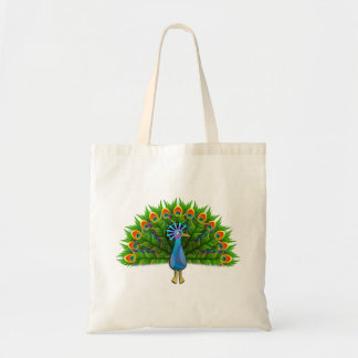 Modern Colorful Aztec Peacock with Green Feathers Budget Tote Bag