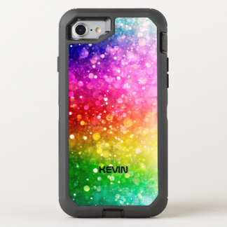 Modern Colorful Bokeh Glitter Texture Pattern OtterBox Defender iPhone 7 Case