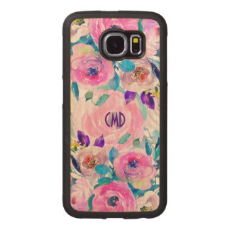Modern Colorful Flowers Collage Wood Phone Case