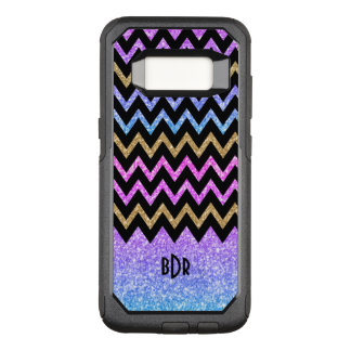Modern Colorful Glitter & Black Chevron OtterBox Commuter Samsung Galaxy S8 Case