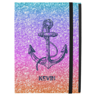 Modern Colorful Glitter & Blue Boat Anchor