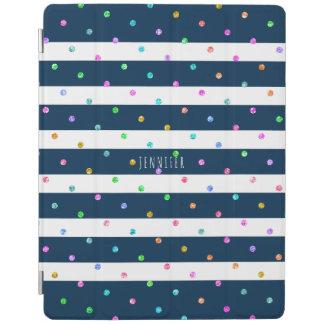 Modern Colorful Glitter Dots Blue & White Stripes iPad Cover