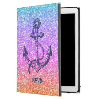 "Modern Colorful Glitter Texture & Blue Boat Anchor iPad Pro 12.9"" Case"