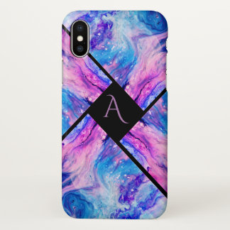 Modern Colorful Marble Monogram iPhone X Case