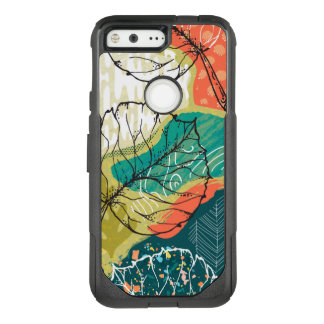 Modern Colorful Patchwork & Leafs Collage OtterBox Commuter Google Pixel Case