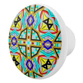 Modern colorful pattern ceramic knob