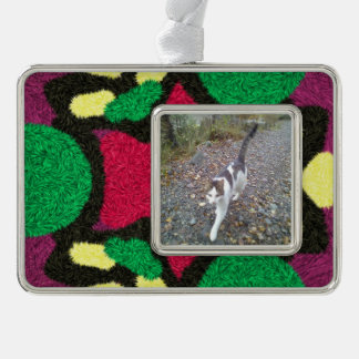 Modern colorful pattern silver plated framed ornament