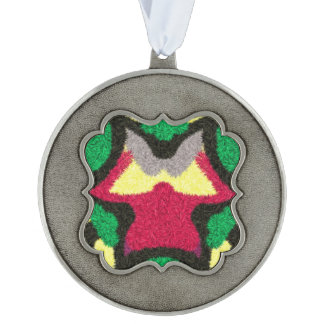 Modern colorful pattern scalloped pewter christmas ornament