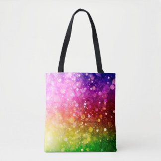 Modern Colorful Rainbow Bokeh Glitter Print Tote Bag