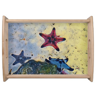 Modern Colorful Starfish On Ocean Floor Serving Tray