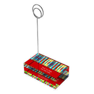 Modern Colorful Stripes Pattern Table Card Holder