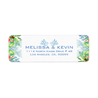 Modern Colorful Tropical Flowers Return Address Label