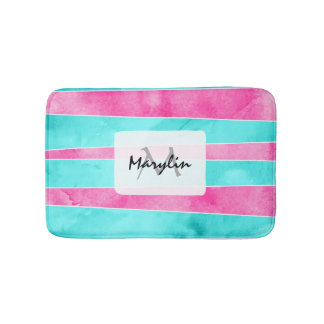 Modern colorful turquoise pink watercolor stripes bath mat