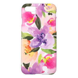 Modern Colorful Watercolor Boho Flowers iPhone 7 Case